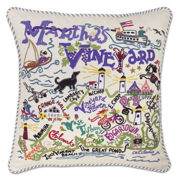 Martha's Vineyard Hand Embroidered Pillow