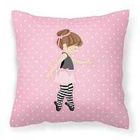Ballerina Brunette Releve Fabric Decorative Pillow BB5175PW1818