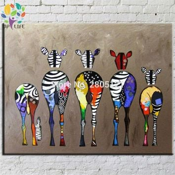 Hand Painted Abstract Andy Warhol pop art painting Zebra Wall Art Oil Painting Home Living Room Decoration cartoon picture