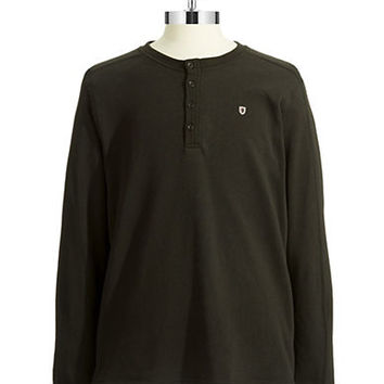 Black Brown 1826 Fleece Henley Shirt