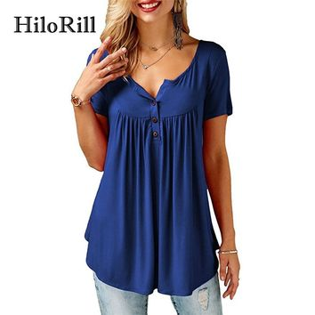 HiloRill Blusa Mujer 2018 Womens Blouses and Tops Casual Short Sleeve Summer Blouse Shirt Sexy Solid Buttons V Neck Top Tee XXXL