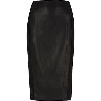Black faux suede panel pencil skirt - midi skirts - skirts - women