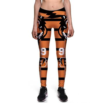 New Women Elastic Trousers Sporting Fitness Pants 3D Printed American Cincinnati Bengals Slim Pants Gymnasium Workout Leggings