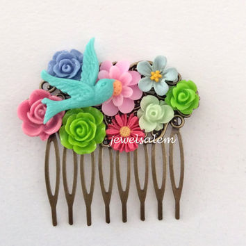 Bridal Hair Comb Wedding Head Piece Turquoise Green Pink Floral Comb For Bride Bridesmaids Shabby Chic Flower Romantic Colorful Blue Bird