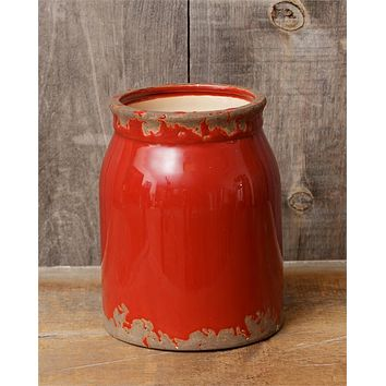 """Farmhouse Distressed Red Pottery 8"""" Crock"""