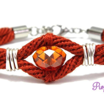 AZALEA Wire wrapped Kumihimo Bracelet, Braided Rope Bracelet with Swarovski Crystal Bead - Rusty Red/Crystal Red Magma
