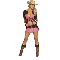 Pink Country Cowgirl Adult Outfit Circus Costume Halloween
