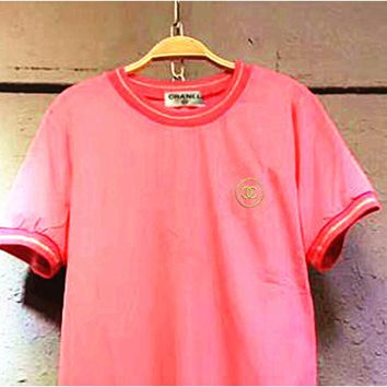 Day-First™ Chanel Pink embroidered T-shirt