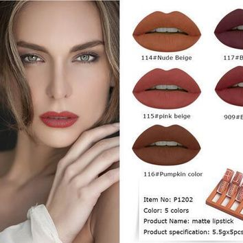 5pcs\Set  5 Colors Matte Liquid Lipstick Long Lasting Nude Lip Stick