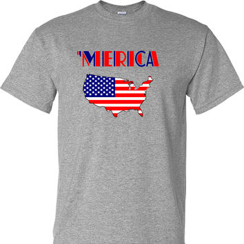 'Merica United States with Flag Fill on a Sports Grey T Shirt