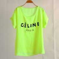 """ Celine "" Print Yellow Fashion Women Casual Sweatshirt Shirt Top Blouse T-Shirt _ 1791"