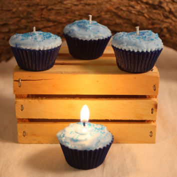 Cupcake Candles, Mini Blueberry Cupcake Candle, Fake Food