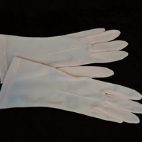 Vintage Pink Nylon Gloves, 1950s 50s Dress Gloves, Van Raalte size 6-1/2, 10-1/2 inches long
