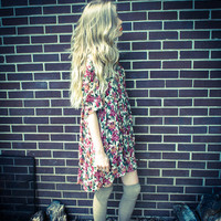 Vintage 90s Grunge Floral Sheer Shift Babydoll Dress