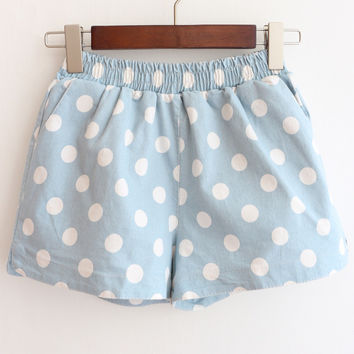 Blue Elastic Waist Polka Dot Denim Shorts