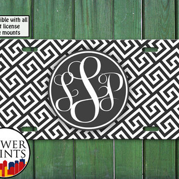 Greek Pattern Gray White Cursive Monogram Initials Personalized Accessory Cute Front License Plate Car Tag One Size Fits All Vehicle Custom