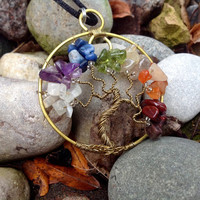 """Round """"Tree of Life"""" Pendant Wire Wrapped, Gold Necklace Handmade USA"""