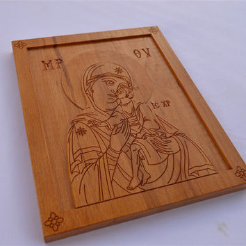 The Virgin Mary, Axion Esti, Byzantine, Orthodox Christian Type Iconography, Engraved in Wood, Άξιον Εστί