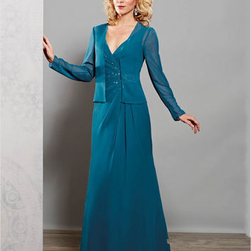 Chiffon Mother of The Bride Dresses With Jacket Plus Size Women Evening Party Mother Groom Formal Gowns For Wedding 03201