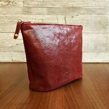 Leather pouch, Makeup, Red purse, Leather cosmetic bag, Womens toiletry bag, Leather shaving bag, Travel bag, Hairdresser bag, Bordo, Gift
