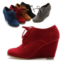 ollio Womens Shoes Faux Suede Wedge Heels Fashion Ankle Lace Ups Boots
