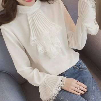 White Patchwork Lace Ruffle Band Collar Round Neck Long Sleeve Blouse