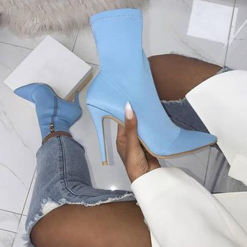 Slip On High Heel Ankle Boots