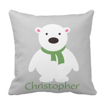 Cute Polar Bear w Green Scarf, Add Name