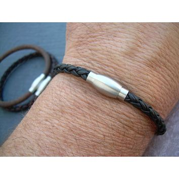 Mens Leather Bracelet with Stainless Steel Magnetic Clasp, Groomsmen, Mens Gift, Mens Bracelet, Mens Jewelry