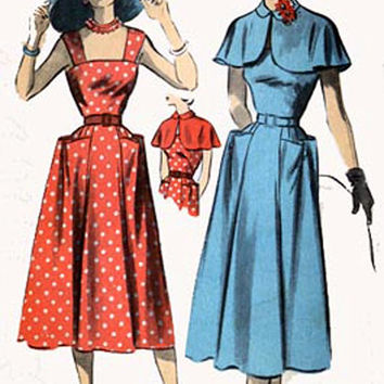 1940s Advance 5511 STUNNING Drop Shoulder Straps SUNDRESS with CAPLET 1940s Vintage Sewing Pattern Size 18 Bust 36 Hip 39