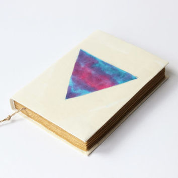 Triangle, journal, diary, notebook, old, dyed paper, batik fabric, blank book, antique book, travel journaT