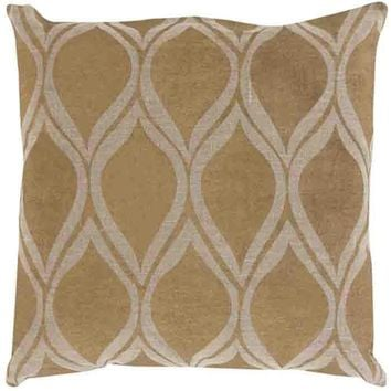 Metallic Stamped Pillow ~ Gold/Tan