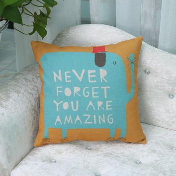 Never Forget Blue Elephant Pillow Cover
