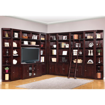 Boston Full Library Entertainment Wall Ladder 11 Piece Merlot