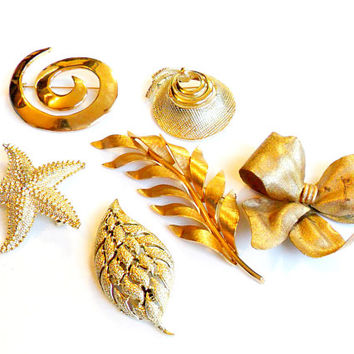 Vintage Brooch Lot - 6 Broach Pin Lot - Gold Silver Tone - Star Spiral Bowl Leaf - Wedding Bouquet Supplies - Instant Collection