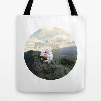 Photo tote bag, bee, Saddle Mountain, rugged, LARGE, MEDIUM, SMALL, kids bag, geometric, flower, clouds, filigree, Oregon, beach bag, cute