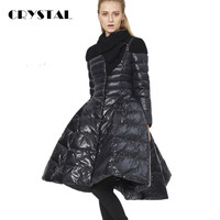 Luxury Fashion 2016 New Women Winter Down Coat Jacket  Long Skirt Slim Parka Outwear 90% White duck down Plus Size