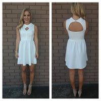 White Couture Open Back Sleeveless Dress