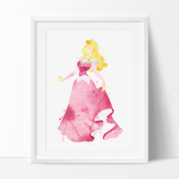 Sleeping Beauty Watercolor Print, Disney Art Print, Disney Princess Art Print, Kids Decor, Sleeping Beauty Poster, Nursery Painting(136)