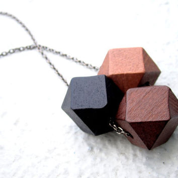 Wooden Cubes Geometric Necklace Mens Necklace Ombre by pearlatplay