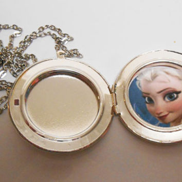 Frozen locket Elsa Once Upon a time Abc Large Silver Frozen Locket necklace pendant girls jewelry
