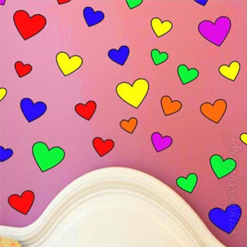 Hearts Wall Decals Rainbow Girls Room Stickers Teen Dorm Peel & Stick GH1