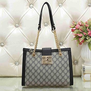 GUCCI Women Fashion Leather Tote Handbag Shoulder Bag Satchel