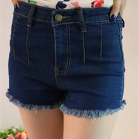 Dark Denim High Waisted Frayed Shorts