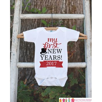 My First New Years Outfit - Happy New Years Eve Onepiece - Newborn Keepsake Outfit - 1st New Year Bodysuit for Baby Girls or Baby Boys