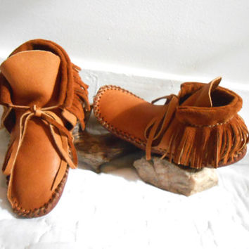 Handmade Moccasins, Short Mocs with Fringe, Native American, Southwestern, Tribal, Boho, Hippie, Natural, Earthing, Mountain Man, Powwow