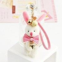 Earphone Jack Accessory Love Heart Cute Rabbit Pink Bow Crystal Pearls / Dust Plug / Ear Jack For F