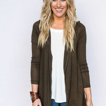 Loose Fit Button Down Cardigan In Olive