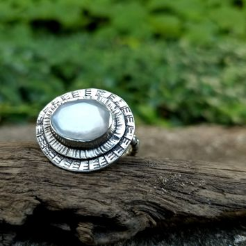 Faceted Moonstone Ring in Hand Stamped Sterling Silver
