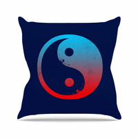"""Federic Levy-Hadida """"Ying Yang Surfers"""" Red Blue Throw Pillow"""